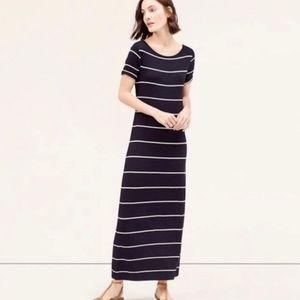 Loft Classic Navy & White Striped Maxi Dress SP